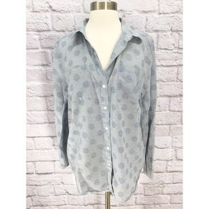 •LOFT• Softened Cotton Button Up Shirt Polka Dot